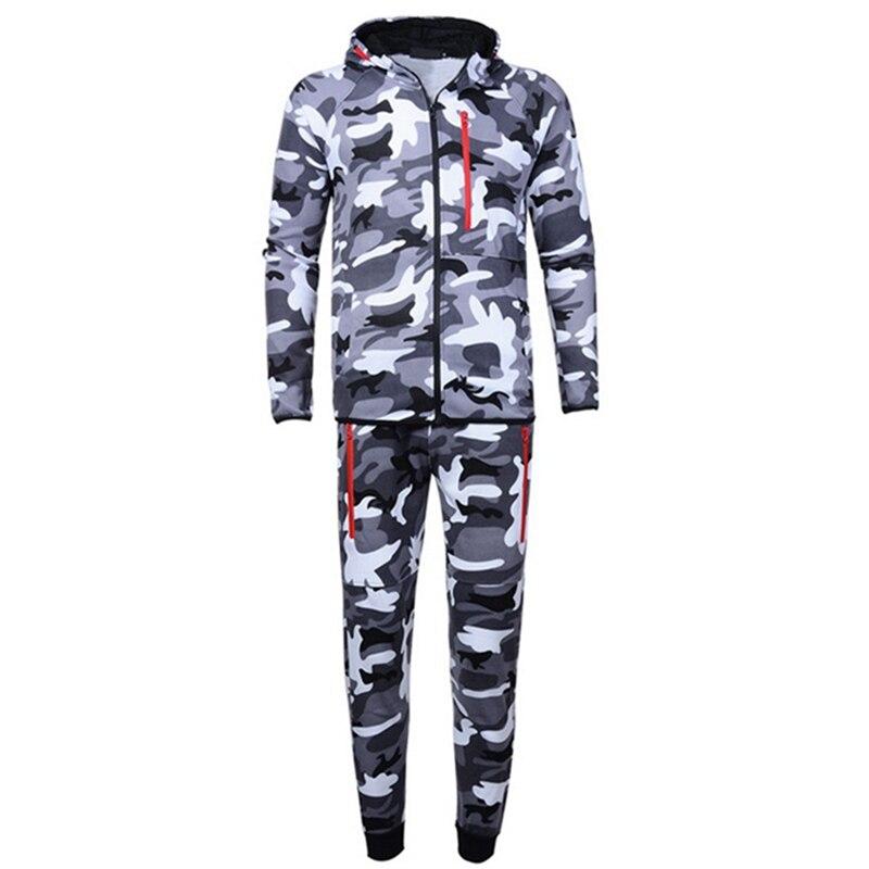 Camouflage Jackets Set Men Camo Printed Sportwear Male Tracksuit Top Pants Suits Hoodie Coat Trousers Autumn Winter