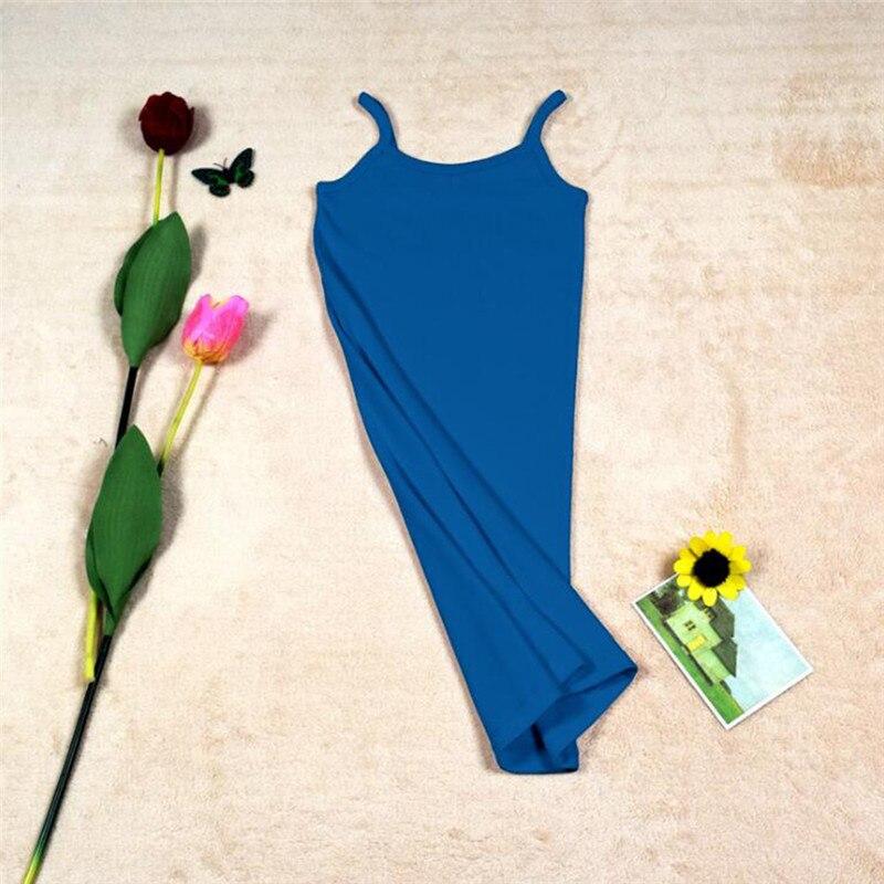 Новинка, Женская эластичная кофточка на бретельках, Длинный топ на бретелях, Мини Короткое платье, летнее повседневное сексуальное платье без рукавов для женщин - Цвет: A-Blue
