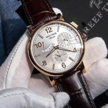 Reef Tiger/RT 2021 Luxury Men  Leather Strap Calendar Rose Gold Case Genuine  Analog Automatic Watches  RGA1978 1