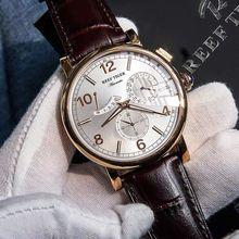 リーフ虎/RT 2019 高級メンズ革ストラップカレンダーローズゴールドケース本アナログ自動腕時計 RGA1978