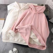 Флисовый пуловер с капюшоном женская розовая одежда свитер корейский