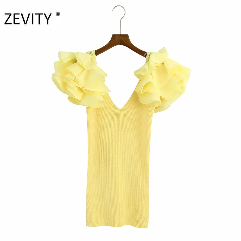 ZEVITY New women sexy cascading ruffle patchwork knitting slim mini dress lady lace ruffles v neck vestidos short dresses DS4278