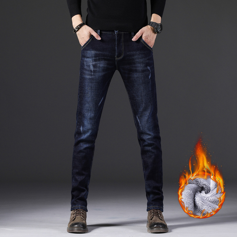 Winter New Products Korean-style Brushed And Thick MEN'S Jeans Skinny Pants Elasticity Jeans Men's 359