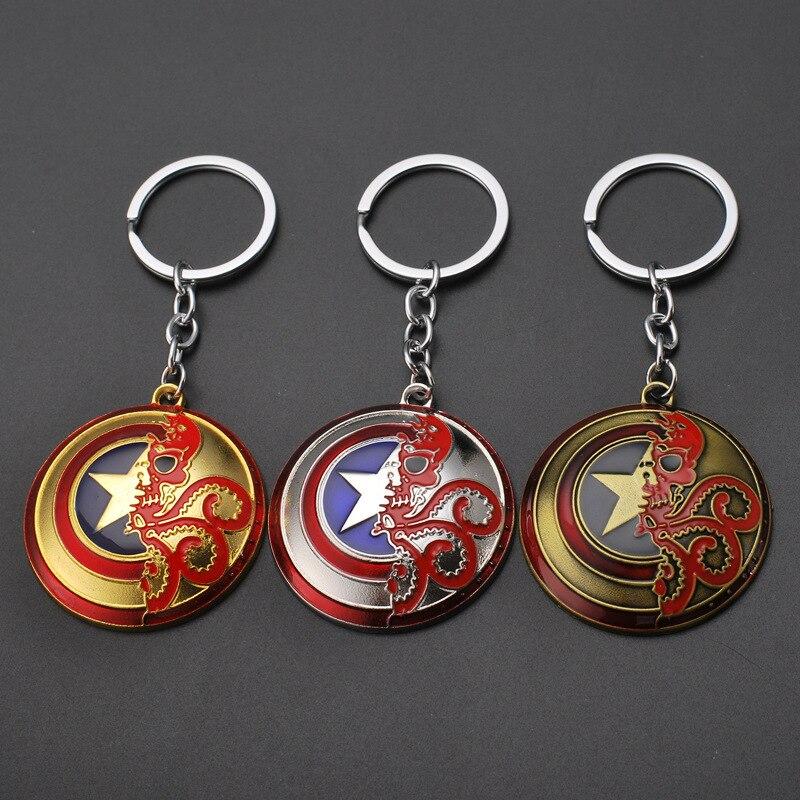 Marvel Legends Avengers Key Chain Car Keychain Creative Gift Keyring Captain America Shield Alloy Disney Metal Fitness Tracker