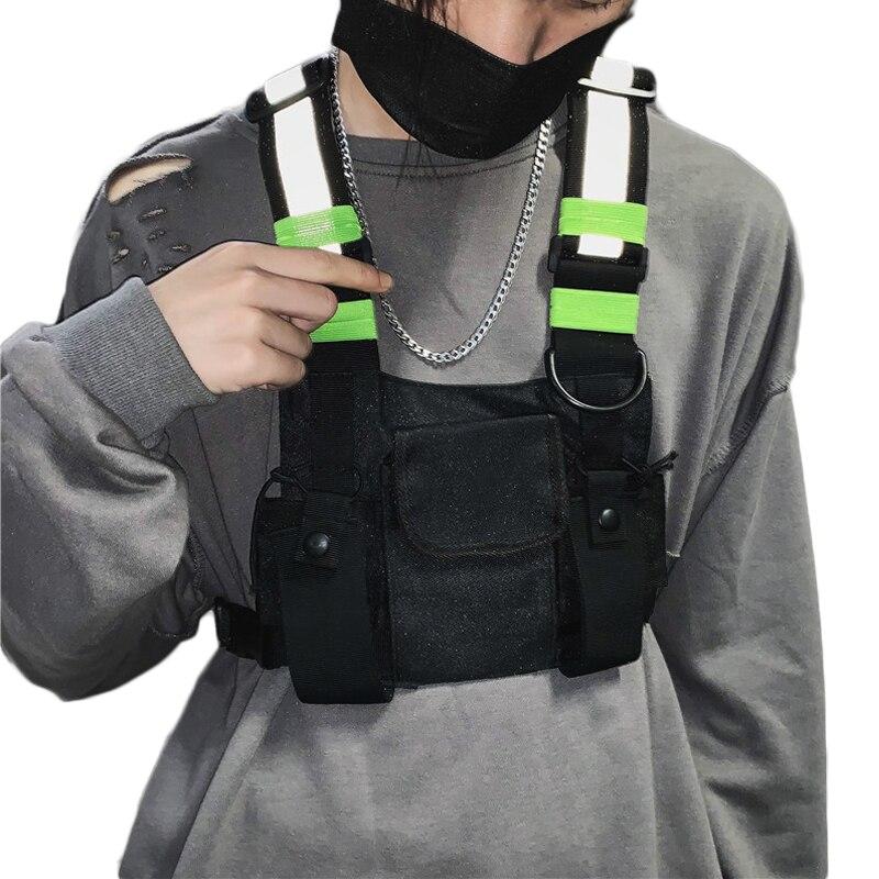 Male Functional Kanye Hip Hop Black Vest Bag Women Tactical Streetwear Bags Female Waist Packs Fashion Men Chest Rig Bag G131(China)
