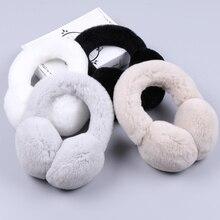 Winter Warm Rex Rabbit Fur Earmuffs Ear Earflap Plush Earmuff for Girls Ladies Women Hairbands Rhinestone Muffs Warmer
