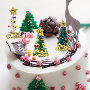 Image 3 - 5/10pcs Merry Christmas Cake Topper Mini Christmas Tree Cupcake Toppers New Year Xmas Party Ornaments Kids Birthday Cake Decor