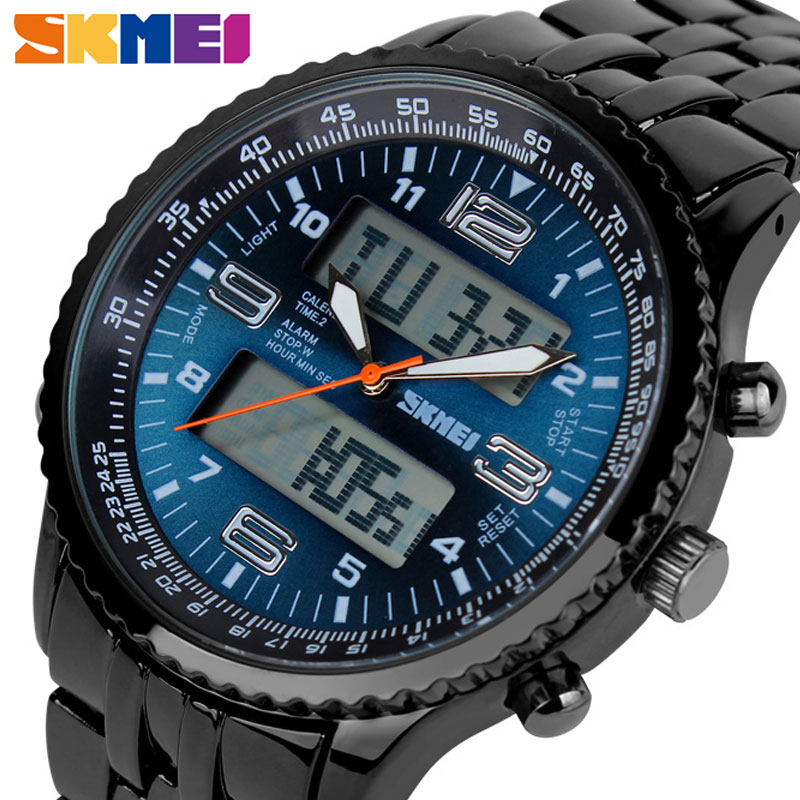 <font><b>SKMEI</b></font> Business Watch Men Luxury Band Fashion Dual Display Calendar Wristwatches 30M Waterproof Back Light Quartz Watches <font><b>1032</b></font> image