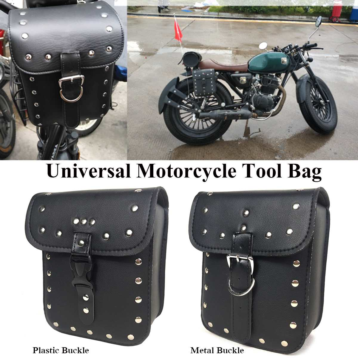 Universal PU Leather Bar Mount Luggage Saddle Bag Motorcycle Bicycle Tool Pouch