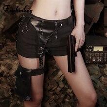 Fitshinling PU Sashes Gothic Shorts Women 2019 Harajuku Vintage Punk Short Feminino Black Slim Sexy Goth Dark Pocket Pants Sale