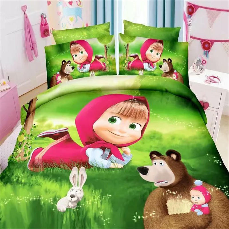 Home Textile Little Red Riding Hood Bedding Set Cartoon Polyester Bed Linen for Children Boys Duvet Cover Flat Sheet Pillowcase