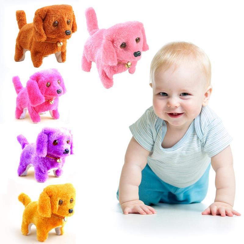 1PCS Electric Toy Soft Plush Walking Glowing Barking Dog Funny Moving Appease Baby Toys For Children Auspicious Short Plush Toy