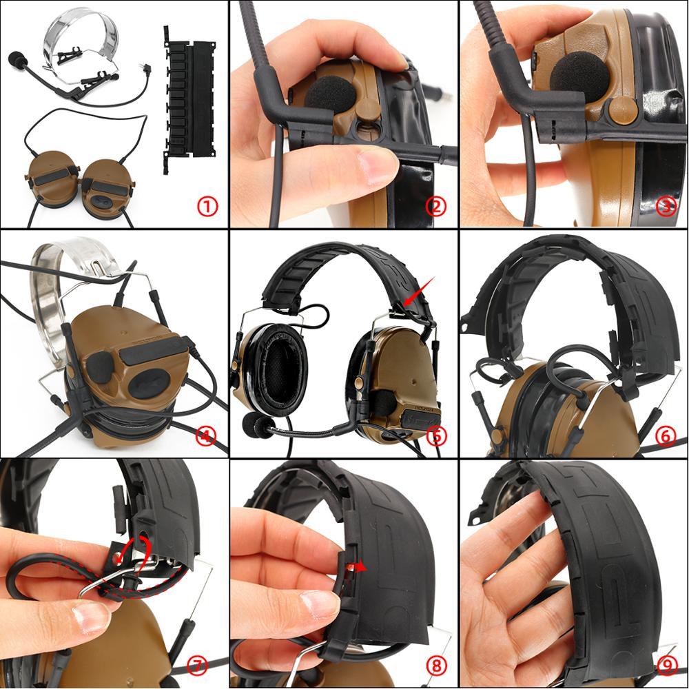 Купить с кэшбэком TAC-SKY COMTAC III new foldable headband dual communication silicone earmuffs tactical headset and new plug tactical PTT U94 PTT