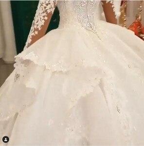 Image 2 - Luxury Dubai Crystal Rhinestone Wedding Dresses Lace Appliques Full Sleeves Puffy Ball Gowns 3D Flower Bridal Dress 2020