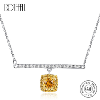 DOTEFFIL 925 Sterling Silver Link Chain Necklace&Pendant Citrine Golden Necklaces Fasinating Fine Jewelry Colar Feminino 2020 image