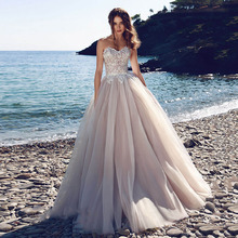 Eightree Boho Princess Wedding Dress Strapless Appliques Lace Bride 2019 Vestidos De Novia Tulle Beach Gowns Cheap