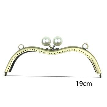 19cm mujeres DIY bolsa de monedas hacer Cierre de metal perla beso hebilla con O anillo Marco de monedero