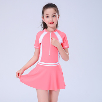 2020 Child Swimwear Girls Swimwear Boxers One Piece Swimming Suit Skirt Diving Suit Children Bathing Suit Zipper Tight Swimsuit - Pink, 5XL