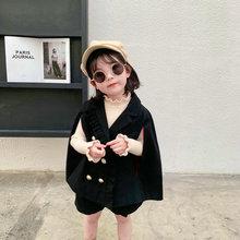Новая модная Осенняя детская одежда осенняя одежда для девочек Черная куртка+ шорты комплекты детской одежды из 2 предметов для девочек детский спортивный костюм