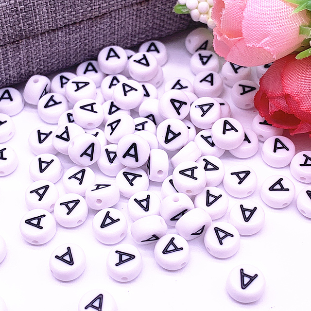 100pcs/lot 7x4mm A-Z White Round Alphabet/ Letter Acrylic Loose Spacer Beads for Jewelry Making DIY Bracelet Accessories