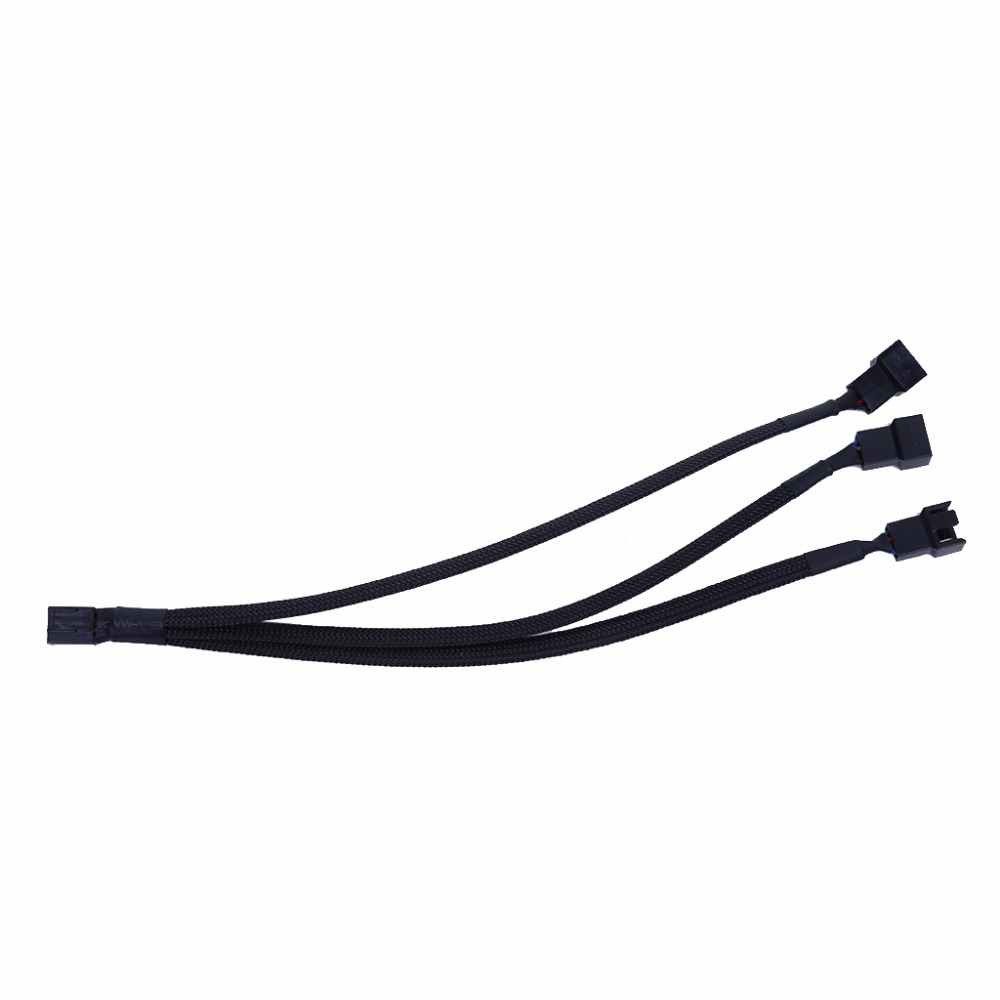 1PC 1 to 3 Way Splitter Black Sleeved 4-Pin PWM Connector Fan Extension Cable For CPU Computer