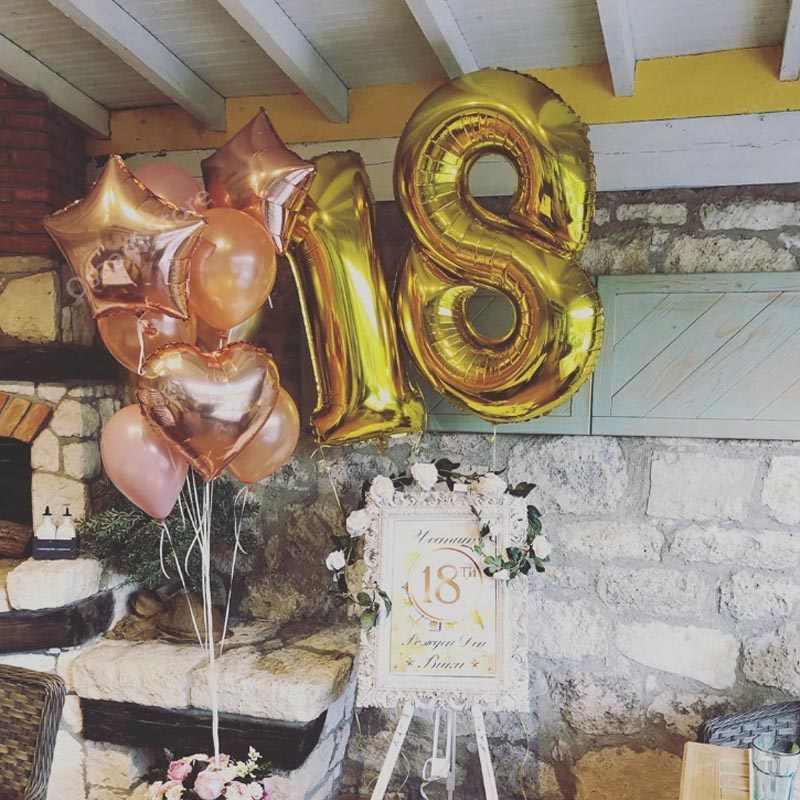 Happy 18 balony urodzinowe różowe złoto folia numery balony 18-letnie dekoracje na imprezę urodzinową dla dorosłych na balony lateksowe