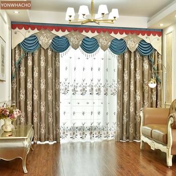 Custom curtains high-precision relief European luxury livingroom coffee chenille cloth blackout curtain valance tulle panel C049