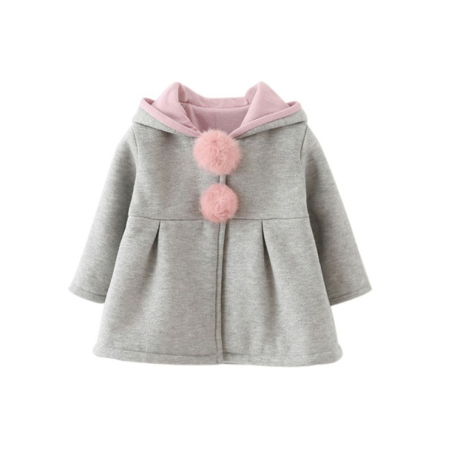 Baby Girls Coat Winter Spring Baby Girls Princess Coat Jacket Rabbit Ear Hoodie Casual Outerwear for girl Infants clothing 4