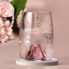 Creative water cup female new product autumn famous cherry blossom cup Japanese wine glass glass small fresh ins style