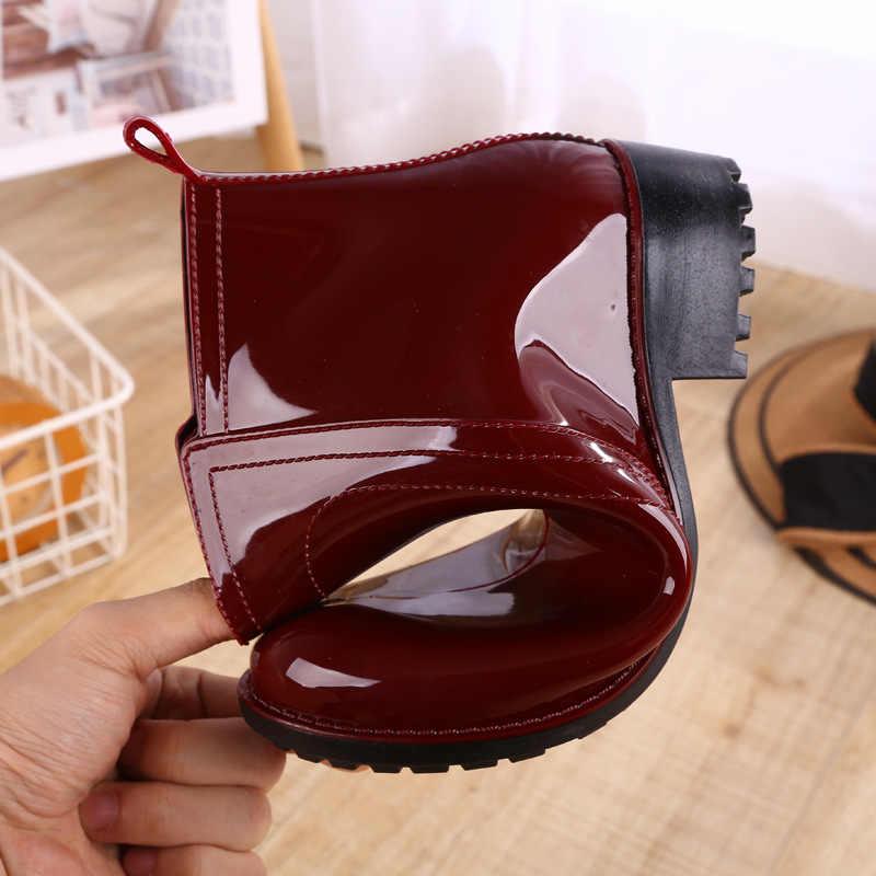 Botas de lluvia impermeables zapatos de mujer de goma de agua con cordones botas Martin costura plana sólida con zapatos botas de mujer 2019