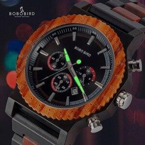 Image 4 - BOBO VOGEL 51mm Große Größe Männer Uhr Holz Luxus Chronograph Armbanduhr Qualität Quarz Bewegung Kalender Relogio Masculino J R15