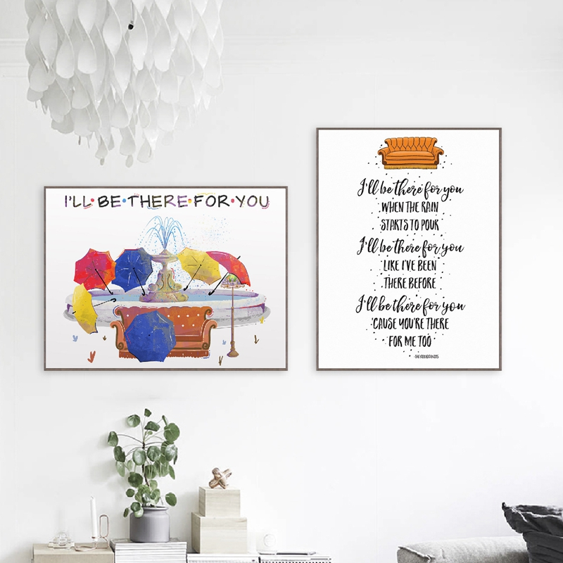 Friends TV Show Poster Friends Theme Song Print I'll Be There For You Quote Classic Canvas Painting Pictures Home Wall Art Decor image