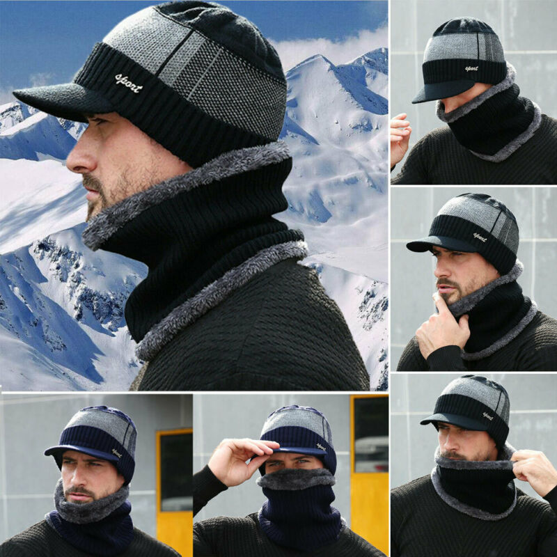 Men's Knitted Hat Collar Two-piece Outfit  STOCK Men Winter Warm Hat Knit Visor Beanie Fleece Lined Beanie With Brim Cap