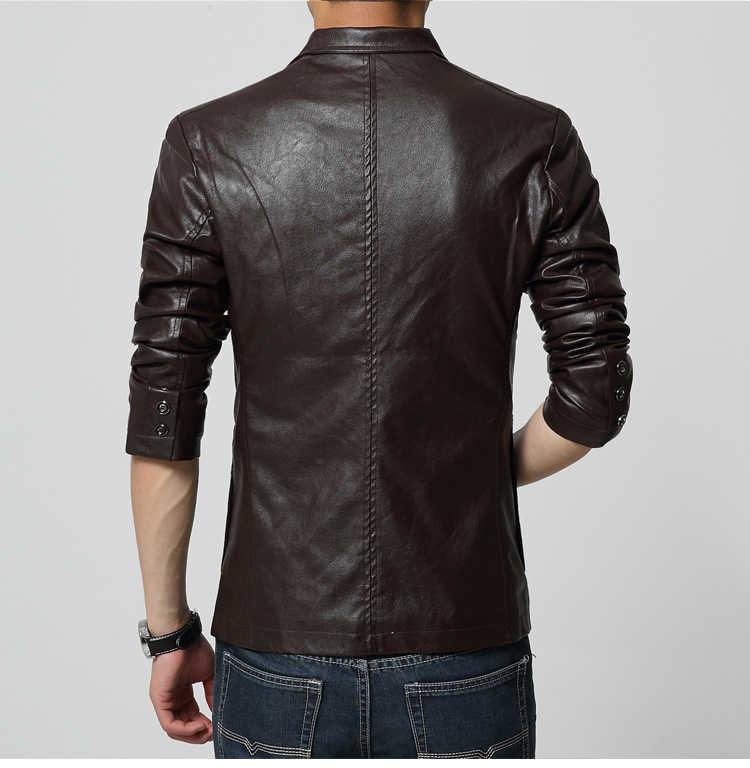 플러스 사이즈 남성 9XL 가죽 2020 새로운 패션 가을 남성 자 켓 코트 가짜 소프트 PU 슬림 블레 이저 Masculino WD0176