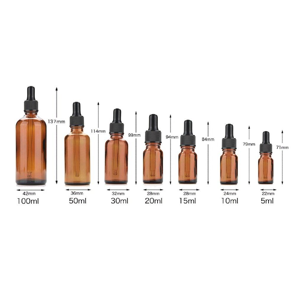 5-100ml Portable Amber Glass Essential Oil Spray Bottles Mist Sprayer Container Travel Refillable Bottle Transparent Brown