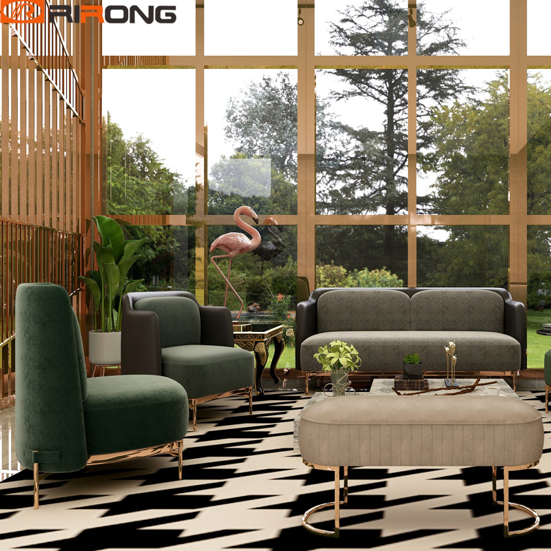 Italy Design Home Living Room Hotel Reception Area Fabric Velet Sofa Chair  Lint Leather Home Furniture Sofa Set Couch