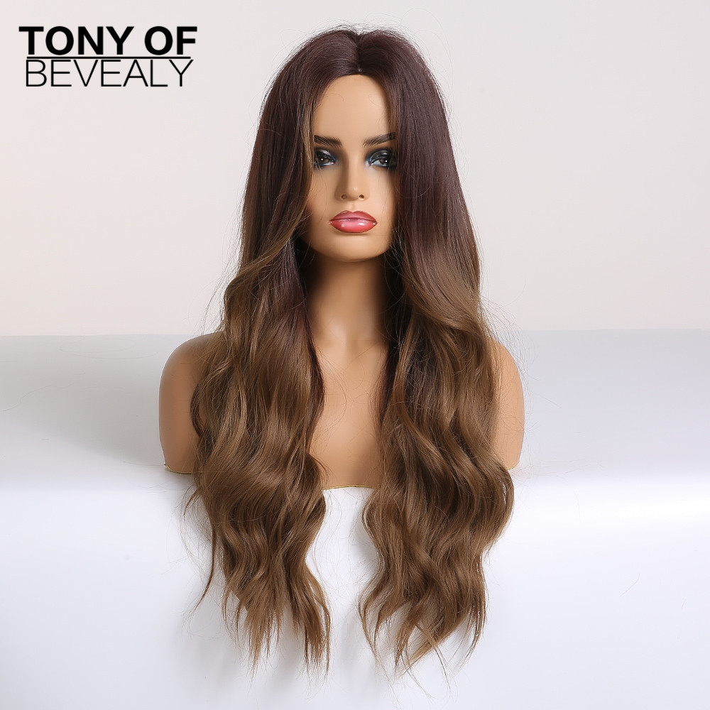 Long Water Wavy Synthetic Wigs Ombre Brown Middle Part Natural Hair Wigs For Women Cosplay Wigs Heat Resistant Fiber 2