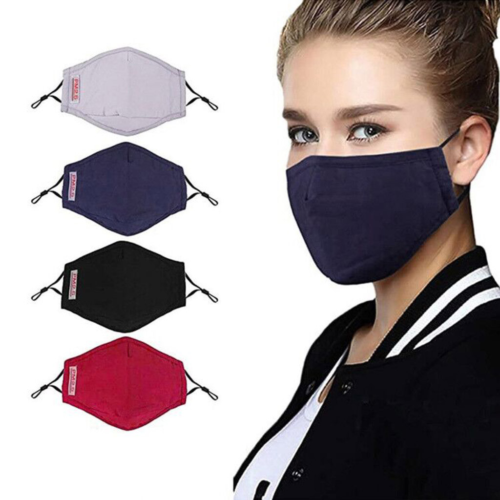 4 Pcs Mouth Mask Cotton Face Dust Mask PM2.5 Filter Windproof Protection Face Mask Reusable Mouth Face Masks Cover Washable