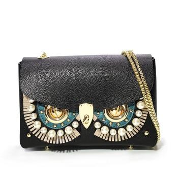 Ladies Fashion Owl Decoration Handbags High-quality Genuine Leather Crossbody Bags Female Casual Chain Shoulder Messenger Bags