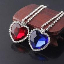 Sg filme de moda titanic coração do oceano colar de coração do mar com azul e vermelho corrente de cristal para melhor festa feminino jóias presente