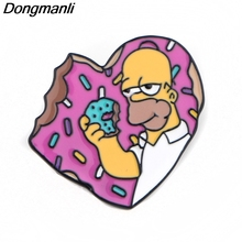 P4051 Dongmanli Cartoon Jewelry Donut Metal Enamel Pins and Brooches Cute Lapel Pin Badge Friend Gifts