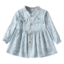 Child Spring Dress Girls Flower Printed Ruched Dress With Bow Kids Long Sleeve Casual Party Dresses Vestidos Infantil #LR3 refreshing long sleeve tiny flower printed flounced dress for women
