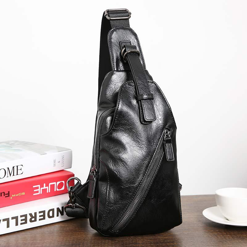 Chest Bag Men Crossbody Bags Warterproof Chest Pack PU Leather Single Shoulder Strap BackBag Male Bags