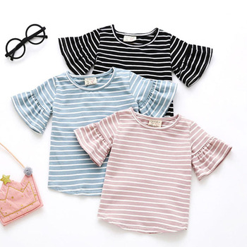 Butterfly Sleeve Casual T Shirt Striped O Neck Summer T-shirt Girl Kids Children Clothes Tee Shirts Tops Cute Toddler Baby 0-4Y 1