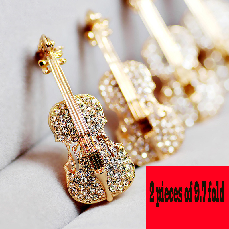 Wedding Party Favor Personalized Gifts for Guests Violin Brooch Bling Crystal Pins Love Lapel Brooches Rhinestone Brooch