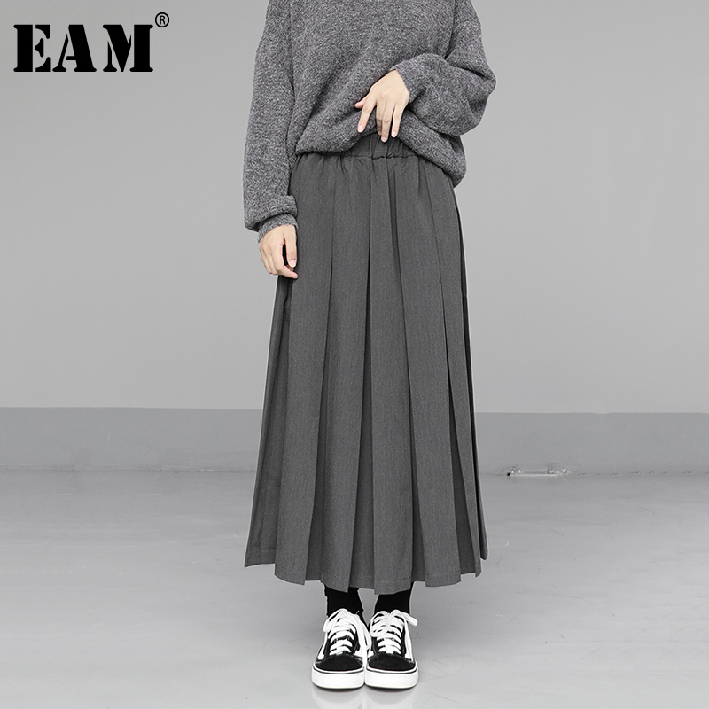 [EAM] High Elastic Waist Gray Pleated Split Joint Temperament Half-body Skirt Women Fashion Tide New Spring Autumn 2020 1N550