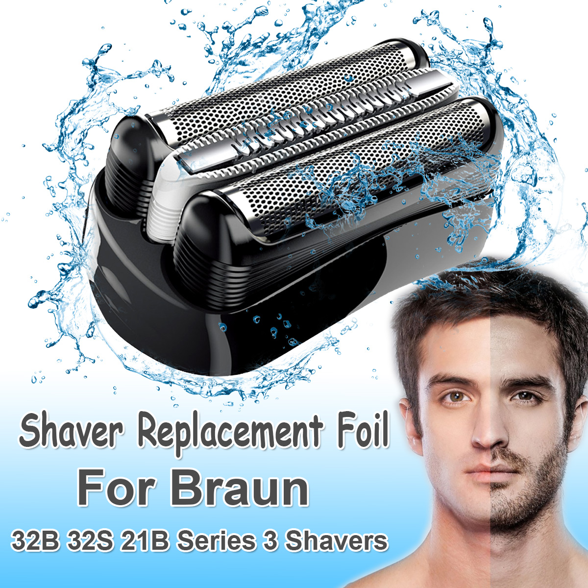 Replacement Shaver Foil Head for Braun 32B 32S 21B for Cruzer6 Series 3 301S 310S 320S 360S 3000S 3010S 3020S 350CC Head Blade(China)
