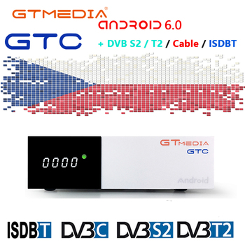 GTMEDIA GTC Smart tv box DVB-T2/S2/Cable(J83.A/C)/ATSC-C/ISDBT 4K H.265 WiFi and 2year CCCAM server easy to operate Android box