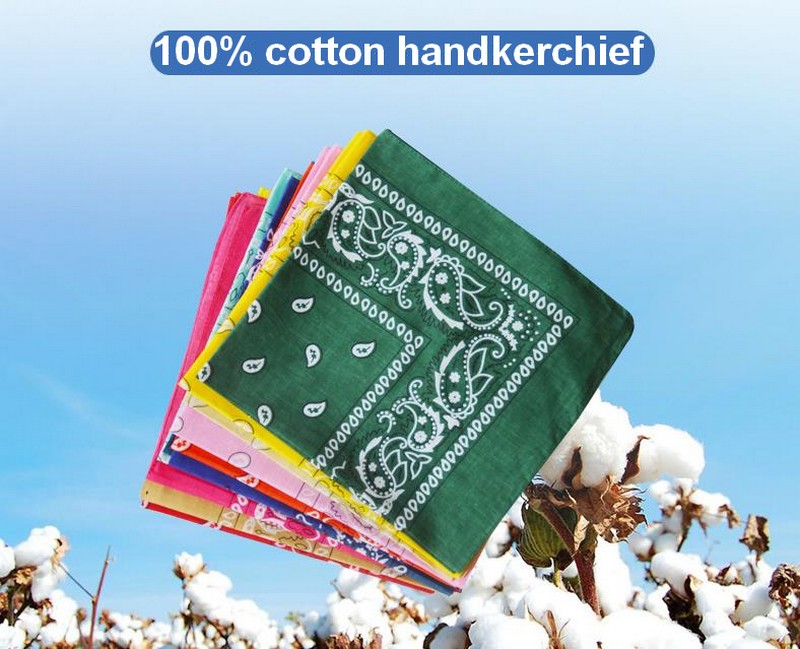 100% Pure Cotton Cashew Flower Handkerchief,  Hip-hop Square Cotton Printed Headscarf For Men And Women