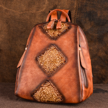 New Women Genuine Leather Backpack High Quality Natural Skin Rucksack Vintage Female Travel Bag Embossed Trends Daypack Knapsack